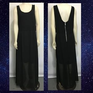 Vince Camuto 2X Rich Black Long Dress NEW